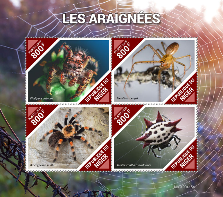Spiders - Issue of Niger postage stamps