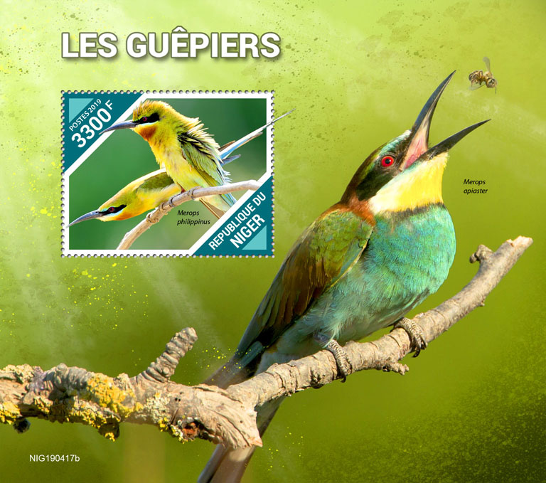 Bee-eaters - Issue of Niger postage stamps