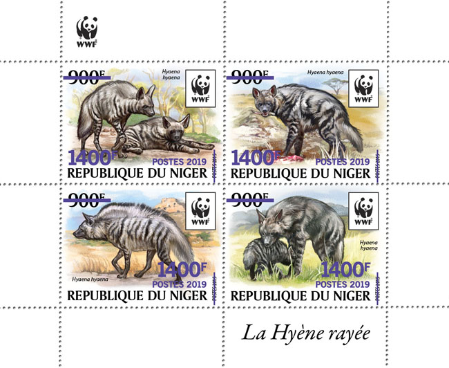 WWF overprint: Hyena (purple  foil) - Issue of Niger postage stamps