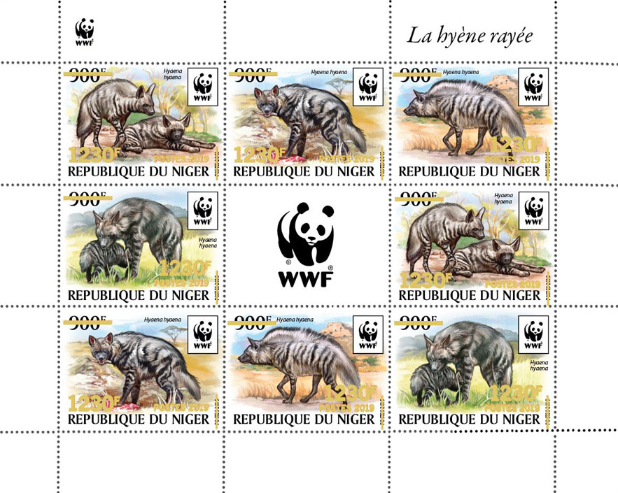WWF overprint: Hyena (gold foil) - Issue of Niger postage stamps