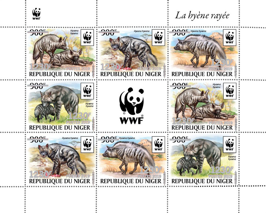 WWF overprint: Hyena (silver foil) - Issue of Niger postage stamps