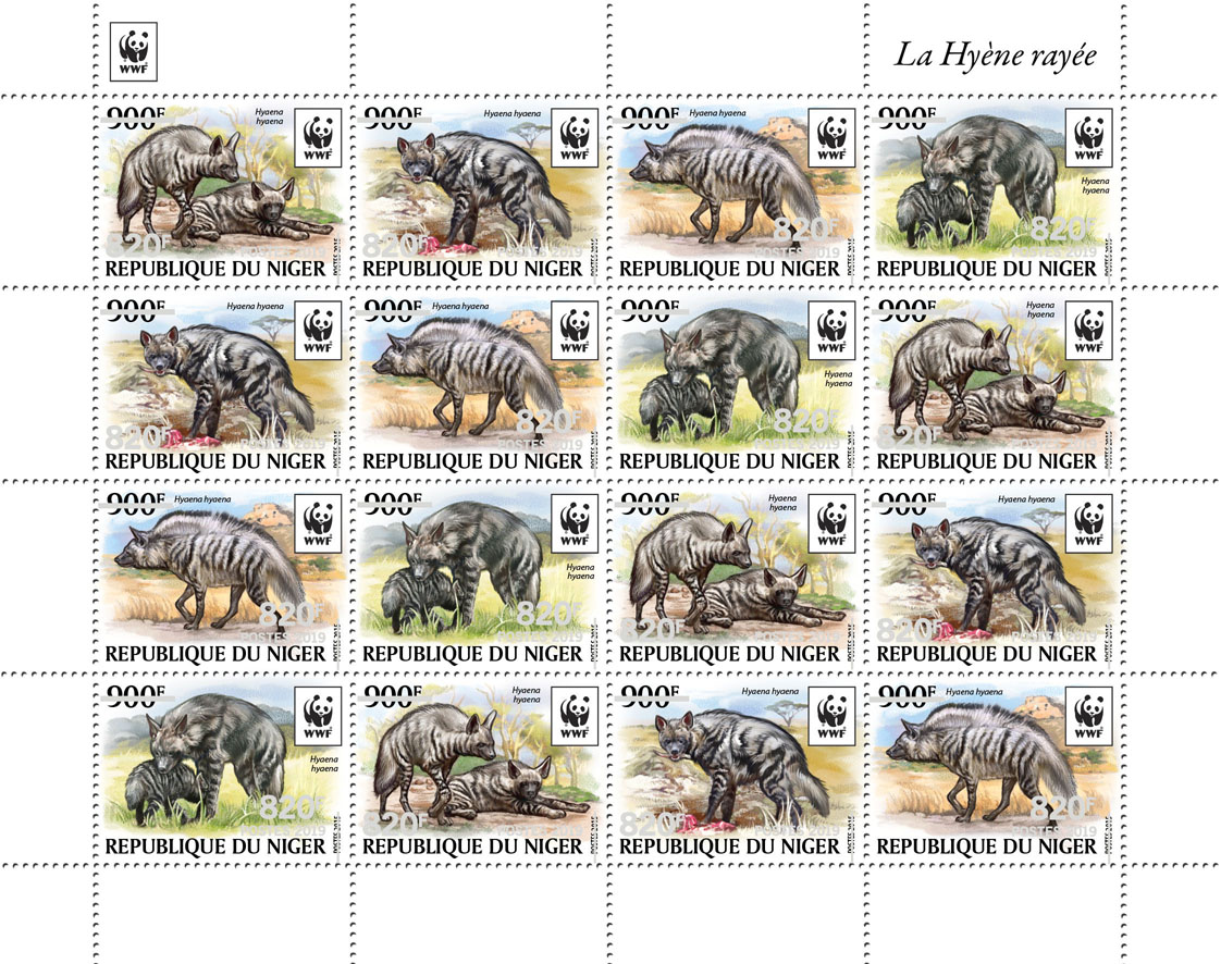 WWF overprint: Hyena (silver hologram foil) - Issue of Niger postage stamps