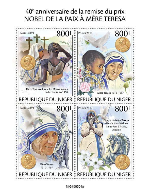 Mother Teresa - Issue of Niger postage stamps