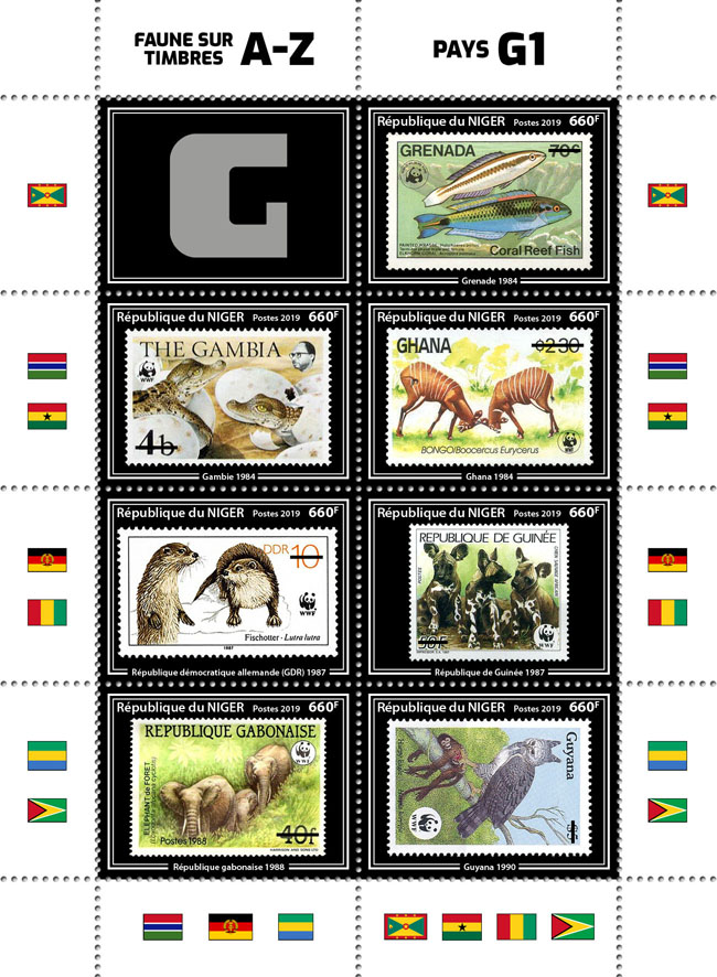 Stamps on stamps 8v 02 - Issue of Niger postage stamps
