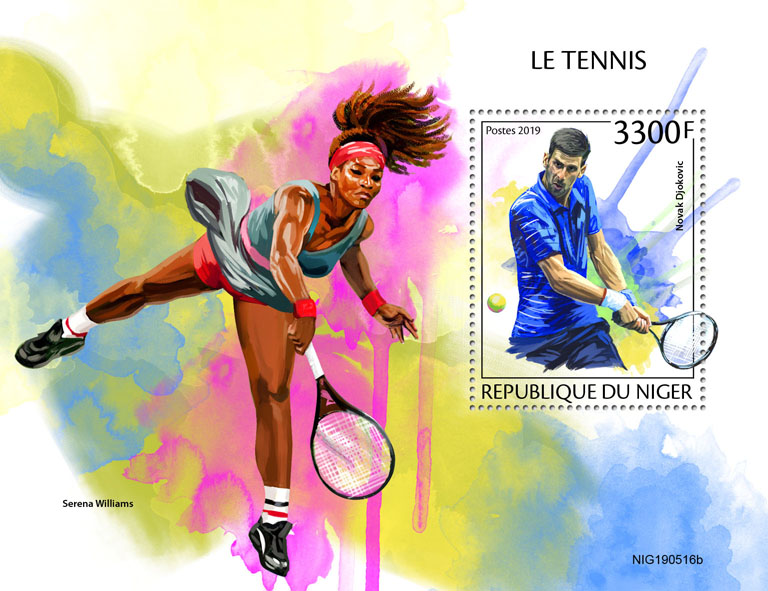 Tennis - Issue of Niger postage stamps